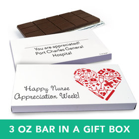 Deluxe Personalized Nurse Appreciation Medical Heart Belgian Chocolate Bar in Gift Box (3oz Bar)