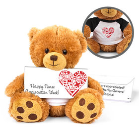 Personalized Nurse Appreciation Medical Heart Teddy Bear with Embossed Chocolate Bar in Deluxe Gift Box