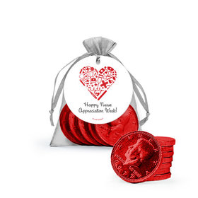 Personalized Nurse Appreciation Heart Milk Chocolate Coins in Organza Bags with Gift Tag