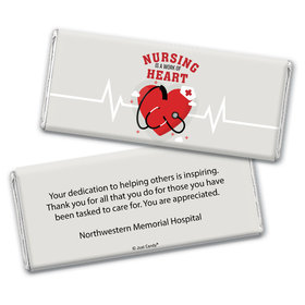 Personalized Nurse Appreciation Working Heart Chocolate Bar Wrappers Only