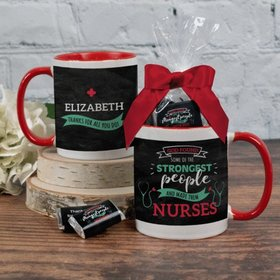 Personalized Nurse Appreciation Strongest People 11oz Mug with approx. 24 Wrapped Hershey's Miniatures