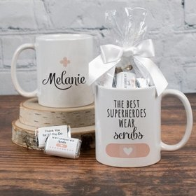 Personalized Nurse Appreciation Superheroes 11oz Mug with approx. 24 Wrapped Hershey's Miniatures