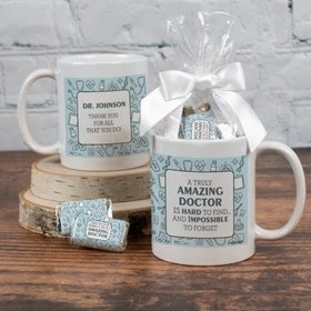 Personalized Thank You Doctor 11oz Mug with approx. 24 Wrapped Hershey's Miniatures