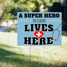 Nurse Appreciation Yard Sign Superhero in Scrubs