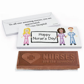 Deluxe Personalized Nurse Appreciation Nurse Scribbles Embossed Chocolate Bar in Gift Box