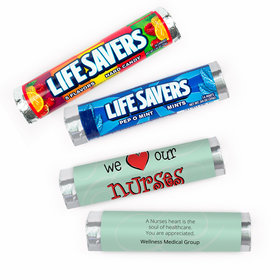 Personalized Nurse Appreciation We Heart Nurses Lifesavers Rolls (20 Rolls)