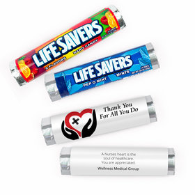 Personalized Nurse Appreciation Only Healing Hands Lifesavers Rolls (20 Rolls)
