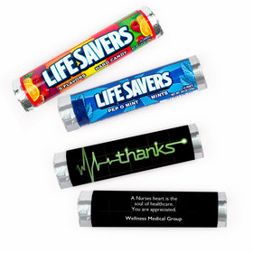 Personalized Nurse Appreciation Heartbeat of Thanks Lifesavers Rolls (20 Rolls)