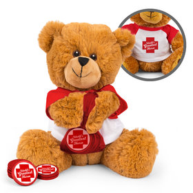 Personalized Nurse Appreciation Red Cross Teddy Bear with Chocolate Coins in XS Organza Bag