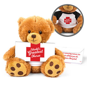 Personalized Nurse Appreciation Red Cross Teddy Bear with Embossed Chocolate Bar in Deluxe Gift Box