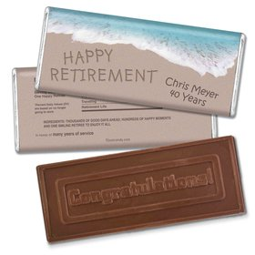 Retirement Personalized Embossed Chocolate Bar Message in Sand by Sea