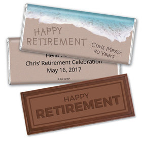 Retirement Personalized Embossed Happy Retirement Chocolate Bar Message in Sand by Sea