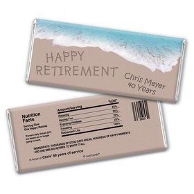 Retirement Personalized Chocolate Bar Wrappers Message in Sand by Sea