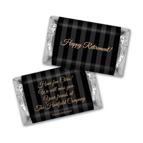 Retirement Personalized Hershey's Miniatures Wrappers Gold and Pinstripe Formal