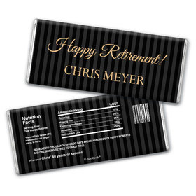 Retirement Personalized Chocolate Bar Gold and Pinstripe Formal
