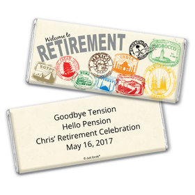 Personalized Retirement Chocolate Bar Passport to Adventure