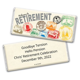 Retirement Personalized Chocolate Bar Wrappers Passport to Adventure