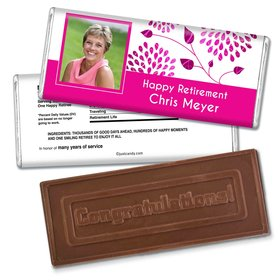 Retirement Personalized Embossed Chocolate Bar Photo and Leaves