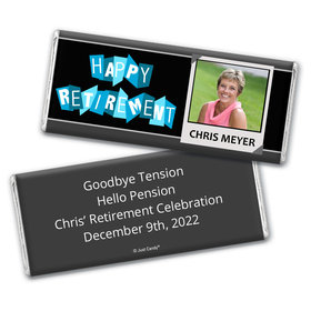 """Retirement Personalized Chocolate Bar Wrappers """"Happy Retirement"""" Polaroid Photo"""