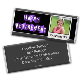 "Retirement Personalized Chocolate Bar Wrappers ""Happy Retirement"" Polaroid Photo"