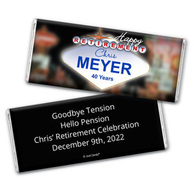 Retirement Personalized Chocolate Bar Wrappers Vegas City Lights