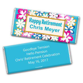 Retirement Personalized Chocolate Bar Wrappers Tropical Hawaiian Luau Flowers
