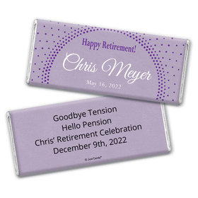Retirement Personalized Chocolate Bar Wrappers Dotted Sunburst