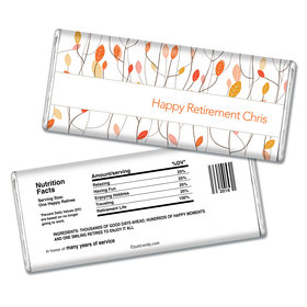Retirement Personalized Chocolate Bar Watercolor Leaves