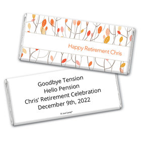 Retirement Personalized Chocolate Bar Wrappers Watercolor Leaves
