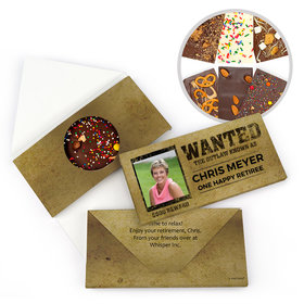 Personalized Retirement Wanted Gourmet Infused Belgian Chocolate Bars (3.5oz)