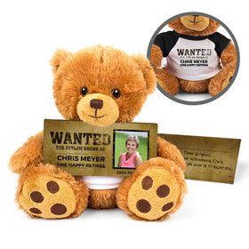 Personalized Retirement Wanted Teddy Bear with Embossed Chocolate Bar in Deluxe Gift Box