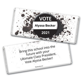 School Election Campaign Personalized Chocolate Bar Wrappers Vote For Me Pin