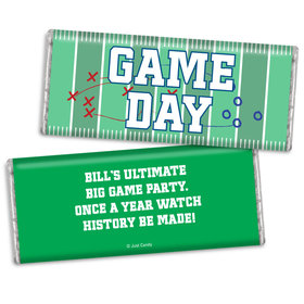 Personalized Super Bowl Themed Football Field Chocolate Bar & Wrapper