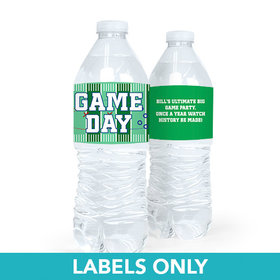 Personalized Super Bowl Themed Football Field Water Bottle Sticker Labels (5 Labels)