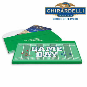 Deluxe Personalized Super Bowl Themed Football Field Ghirardelli Chocolate Bar in Gift Box