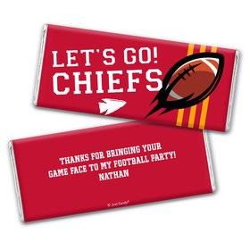 Personalized Chiefs Football Party Hershey's Chocolate Bar & Wrapper