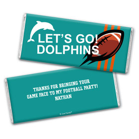 Personalized Dolphins Football Party Hershey's Chocolate Bar & Wrapper