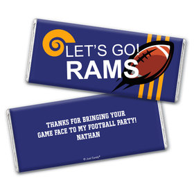 Personalized Rams Football Party Chocolate Bar Wrappers Only