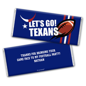Personalized Texans Football Party Chocolate Bar Wrappers Only