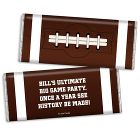 Personalized Super Bowl Themed Football Chocolate Bar & Wrapper