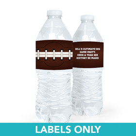 Personalized Super Bowl Themed Football Water Bottle Sticker Labels (5 Labels)