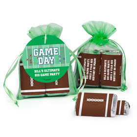 Personalized Gameday Football Field Hershey's Miniatures in Organza Bags with Gift Tag