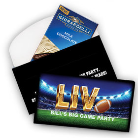 Deluxe Personalized Super Bowl Themed Football Stadium Ghirardelli Chocolate Bar in Gift Box