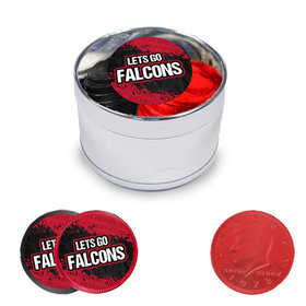 Let's Go Falcons Milk Chocolate Coins in Medium Silver Plastic Tin (24 Coins with Stickers)