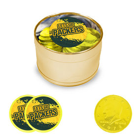 Let's Go Packers Milk Chocolate Coins in Medium Gold Plastic Tin (24 Coins with Stickers)