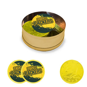 Let's Go Packers Milk Chocolate Coins in Small Gold Plastic Tin (12 Coins w/ stickers)