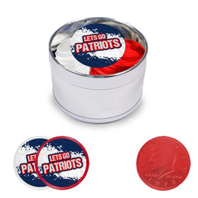Let's Go Patriots Milk Chocolate Coins in Small Silver Plastic Tin (12 Coins w/ stickers)