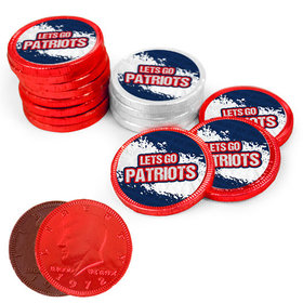 Let's Go Patriots Chocolate Coins with Red & White Foil with Sticker (84 Pack)
