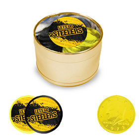 Let's Go Steelers Milk Chocolate Coins in Medium Gold Plastic Tin (24 Coins with Stickers)