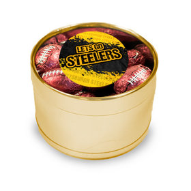 Let's Go Steelers Medium Gold Plastic Tin - approx 20 Madelaine Milk Chocolate Footballs